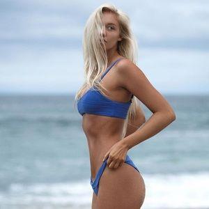 Ribbed blue bikini top and bottom.